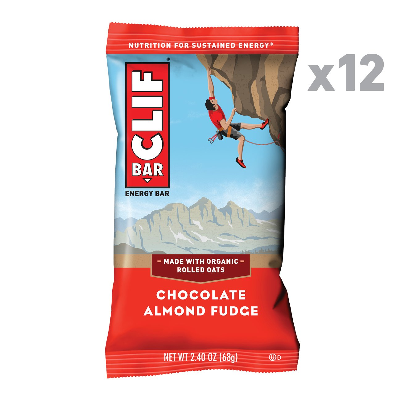 CLIF BAR  Energy Bars  Chocolate Almond Fudge  2 4 Ounce Protein Bars 12 Count