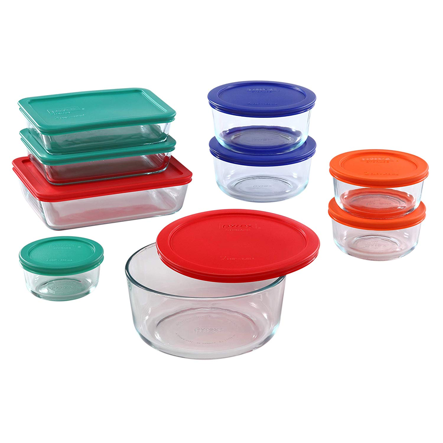 Pyrex Meal Prep Simply Store Glass Rectangular and Round Food Container Set
