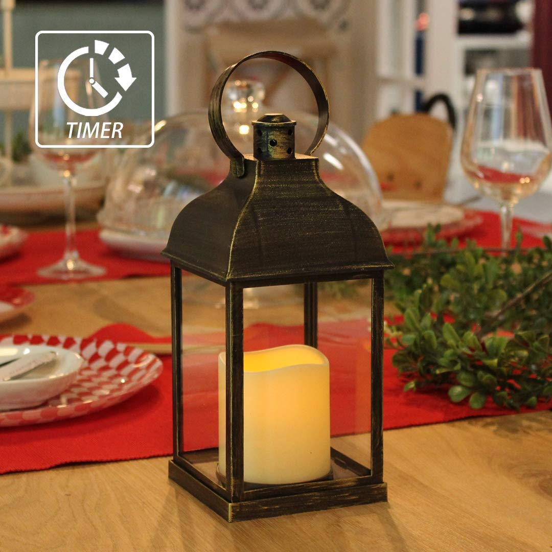 MammyGol Vintage Decorative Lanterns with Timer  9  Outdoor Candle Lantern with LED Flickering Flameless Candles  Hanging Lanterns for Wedding Party Decoration  Plastic with Bronze Undertones