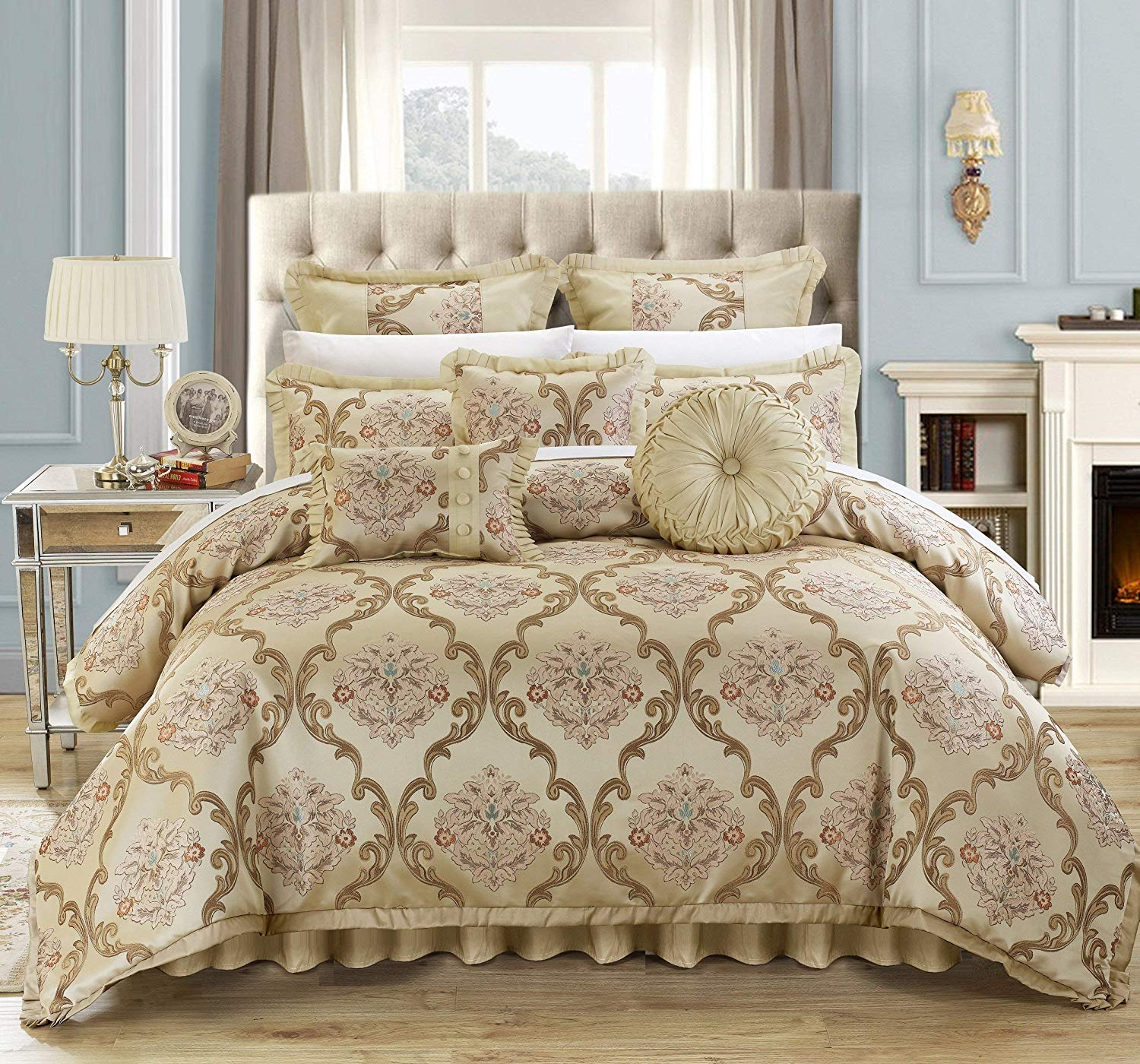 Chic Home 9 Piece Aubrey Decorator Upholstery Comforter Set and Pillows