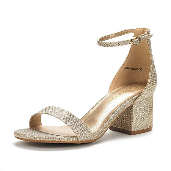 DREAM PAIRS Women s Low Chunk Low Heel Pump Sandals with Ankle Strap