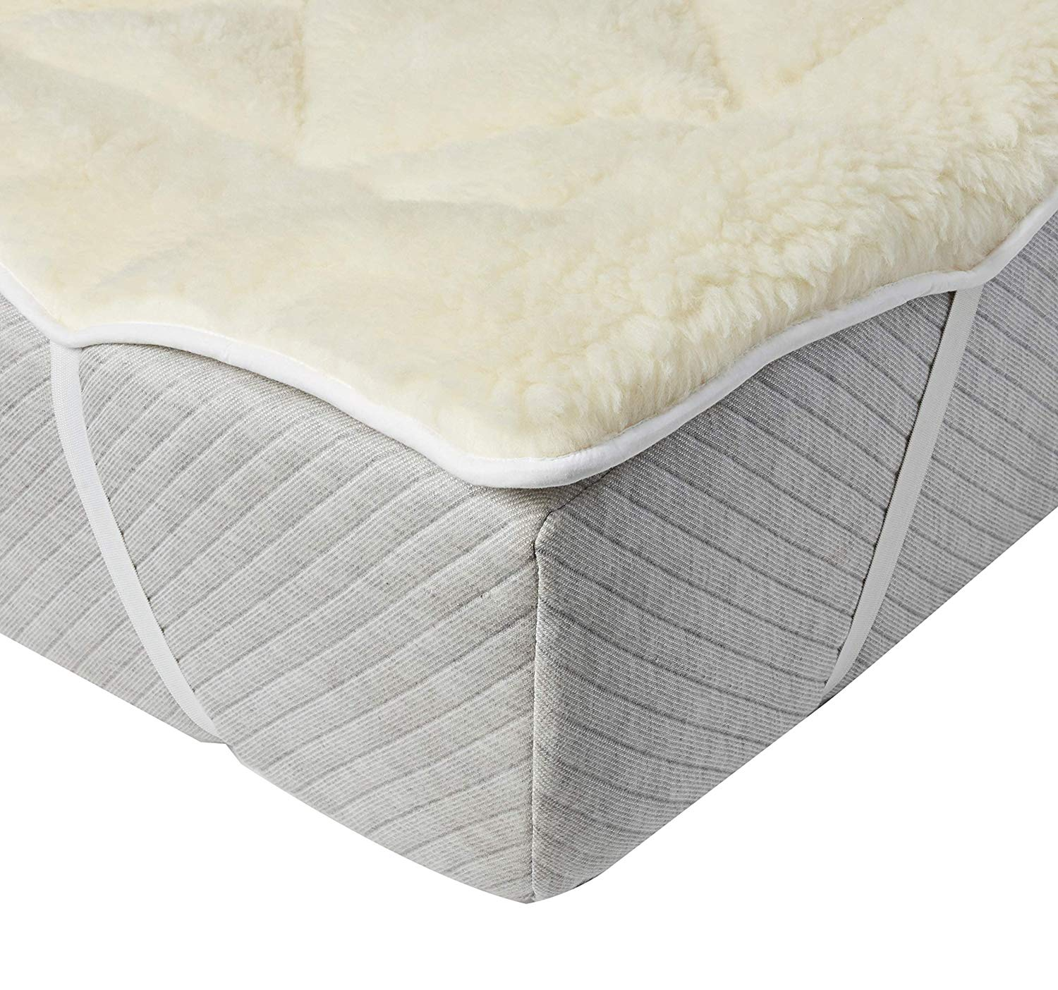 Perfect Fit  Cool Wool Extra Plush Down Alternative Reversible Mattress Pad  Topper Hypoallergenic Washable Wool Queen