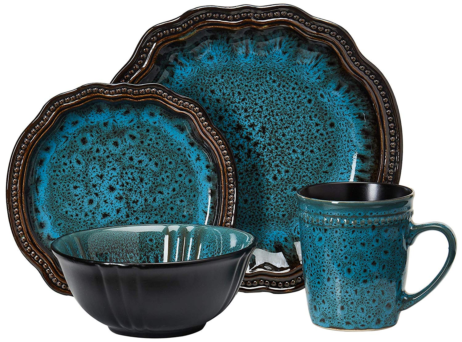 Elama Mystic Waves Round Oval Stoneware Fine Dining Dinnerware Dish Set 16 Piece Ocean Blue with Brown Accents
