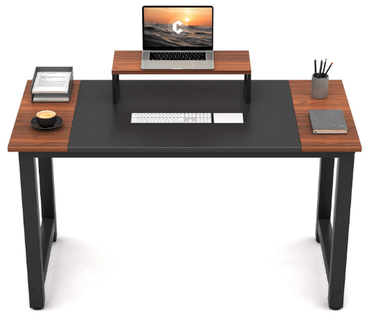 CubiCubi Computer Office Small Desk 47 , Study Writing Table, Modern Simple Style PC Desk with Splice Board, Black and Espresso